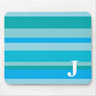 Monogram with a Colorful Striped Background - J Mouse Mat