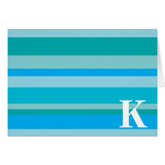 Monogram with a Colorful Striped Background - K Cards