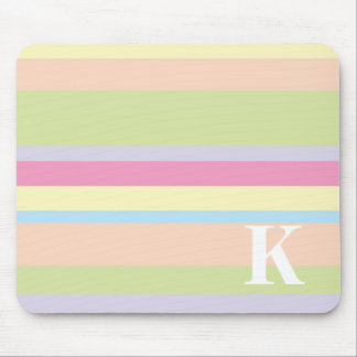 Monogram with a Colorful Striped Background - K Mouse Mat