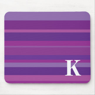 Monogram with a Colorful Striped Background - K Mouse Pad