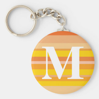 Monogram with a Colorful Striped Background - M Key Chain