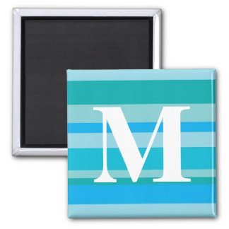 Monogram with a Colorful Striped Background - M Magnets