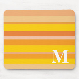 Monogram with a Colorful Striped Background - M Mouse Mat