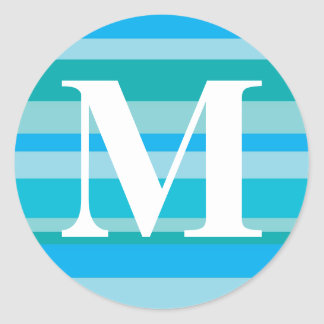 Monogram with a Colorful Striped Background - M Round Sticker