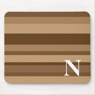 Monogram with a Colorful Striped Background - N Mouse Pad