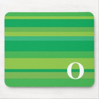 Monogram with a Colorful Striped Background - O Mouse Pad