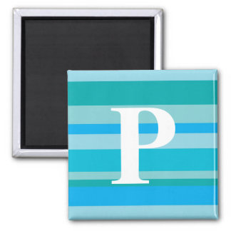 Monogram with a Colorful Striped Background - P Refrigerator Magnets