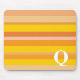 Monogram with a Colorful Striped Background - Q Mouse Pad