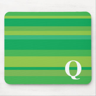 Monogram with a Colorful Striped Background - Q Mouse Mat