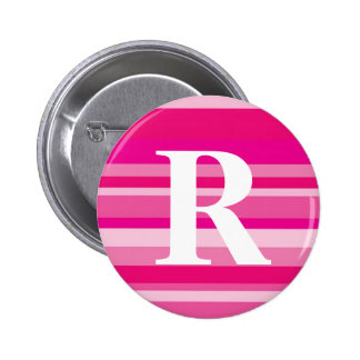 Monogram with a Colorful Striped Background - R Pinback Buttons