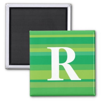 Monogram with a Colorful Striped Background - R Refrigerator Magnet