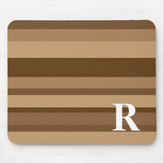 Monogram with a Colorful Striped Background - R Mouse Mat
