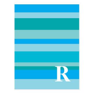 Monogram with a Colorful Striped Background - R Postcard