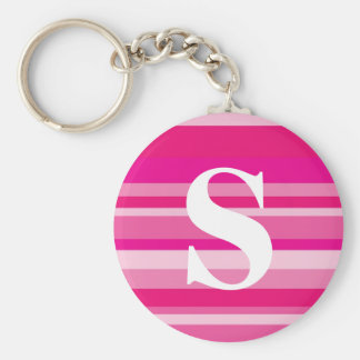 Monogram with a Colorful Striped Background - S Basic Round Button Key Ring