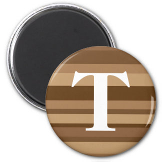 Monogram with a Colorful Striped Background - T 6 Cm Round Magnet