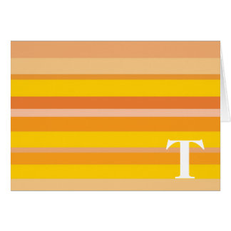 Monogram with a Colorful Striped Background - T Cards