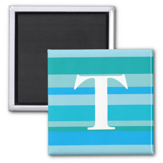 Monogram with a Colorful Striped Background - T Refrigerator Magnet