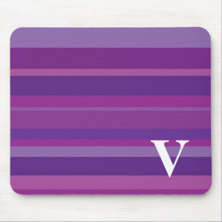 Monogram with a Colorful Striped Background - V Mouse Pad