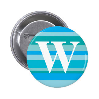 Monogram with a Colorful Striped Background - W 6 Cm Round Badge