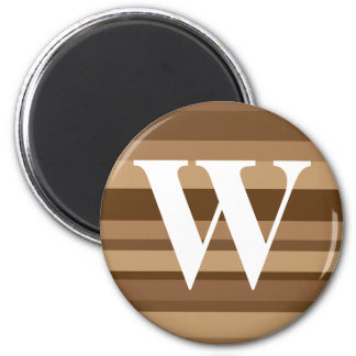 Monogram with a Colorful Striped Background - W 6 Cm Round Magnet