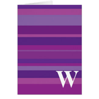 Monogram with a Colorful Striped Background - W Greeting Cards