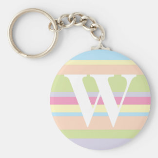 Monogram with a Colorful Striped Background - W Keychains