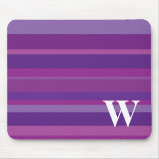 Monogram with a Colorful Striped Background - W Mouse Pad