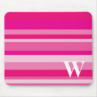 Monogram with a Colorful Striped Background - W Mouse Mat