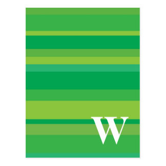 Monogram with a Colorful Striped Background - W Postcard