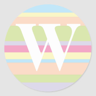 Monogram with a Colorful Striped Background - W Round Sticker