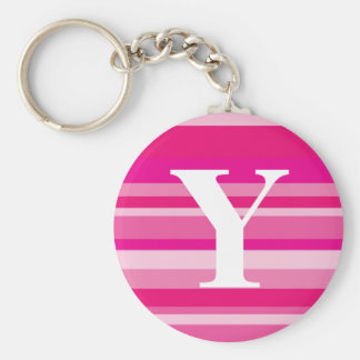 Monogram with a Colorful Striped Background - Y Keychains