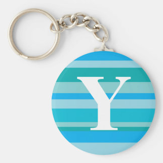 Monogram with a Colorful Striped Background - Y Key Chains