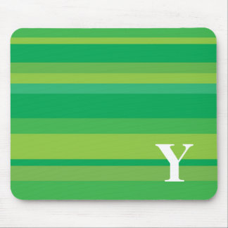 Monogram with a Colorful Striped Background - Y Mouse Pad
