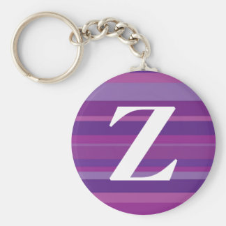 Monogram with a Colorful Striped Background - Z Basic Round Button Key Ring