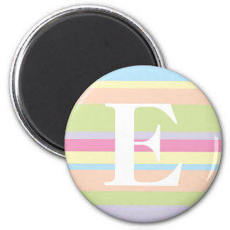 Monogram with a Colourful Striped Background - E 6 Cm Round Magnet