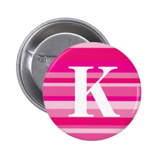 Monogram with a Colourful Striped Background - K 6 Cm Round Badge