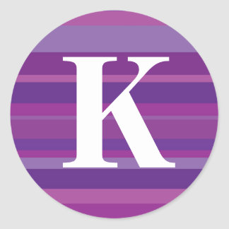 Monogram with a Colourful Striped Background - K Round Sticker