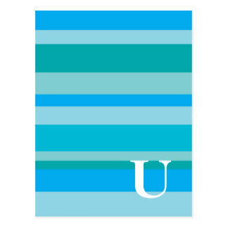 Monogram with a Colourful Striped Background - U Postcard