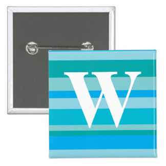 Monogram with a Colourful Striped Background - W 15 Cm Square Badge