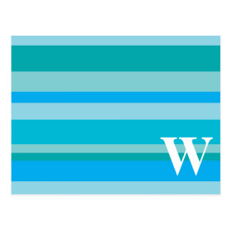 Monogram with a Colourful Striped Background - W Postcard