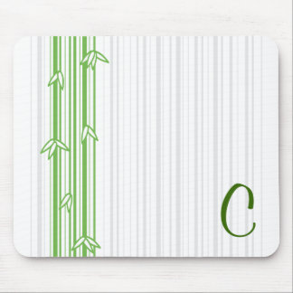 Monogram with Bamboo Background - Letter C Mouse Pads