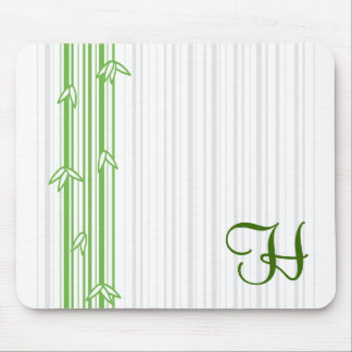Monogram with Bamboo Background - Letter H Mouse Pad