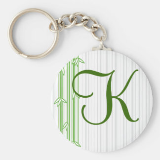 Monogram with Bamboo Background - Letter K Basic Round Button Key Ring