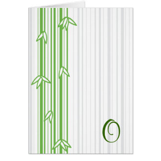 Monogram with Bamboo Background - Letter O Greeting Card