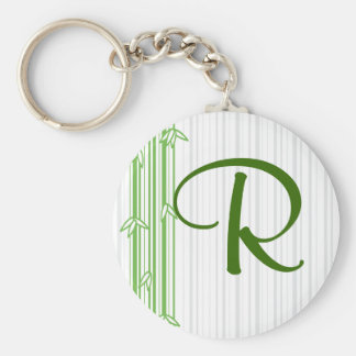 Monogram with Bamboo Background - Letter R Basic Round Button Key Ring