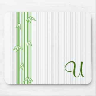 Monogram with Bamboo Background - Letter U Mouse Pad