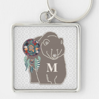 Monogram with Bear in Brown Native American Theme Silver-Colored Square Key Ring