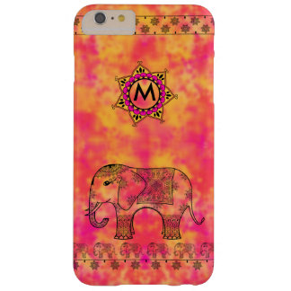 Monogram with Eastern Elephant Tangle Pattern Barely There iPhone 6 Plus Case