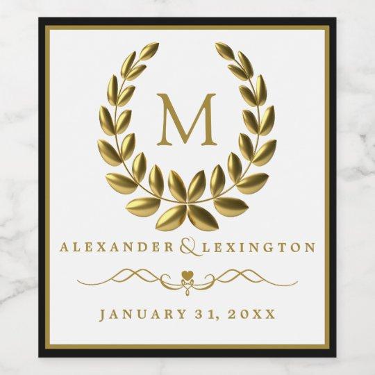Monogram with Laurel Wreath Black and Gold Wedding