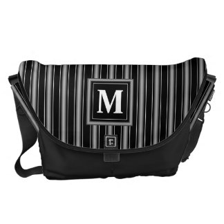 Monogram with Masculine Black, White & Grey Stripe Courier Bags